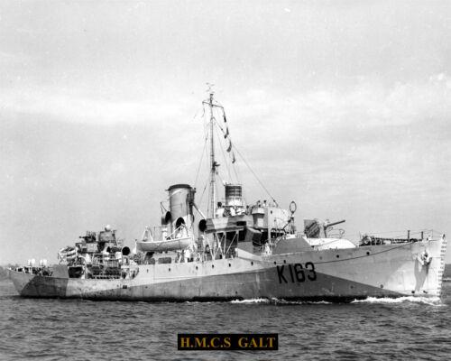 ROYAL CANADIAN NAVY CORVETTE HMCS GALT K 163  8 X10 PHOTO WITH STATS SHEET