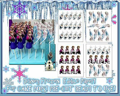 EDIBLE Cake Stickers for cake pops! Toppers decals characters Frozen Elsa - Frozen Cake Pops
