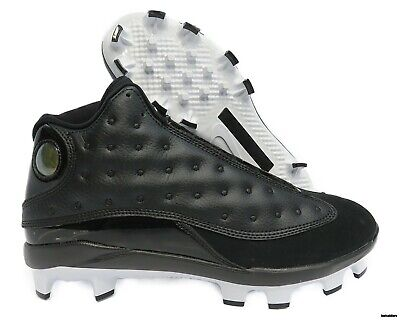 1731ca2ef504 AJ8016-001 Jordan XIII (13) Retro Baseball Cleats (Black   White) Men s  Size 10