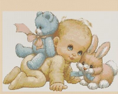 Birth Sampler Baby and Rabbit Counted Cross Stitch Chart No. 5-119