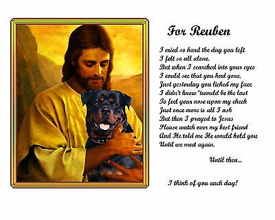 Rottweiler Memorial Picture w/Jesus/Poem Personalized w/Dog's Name-Pet-Loss