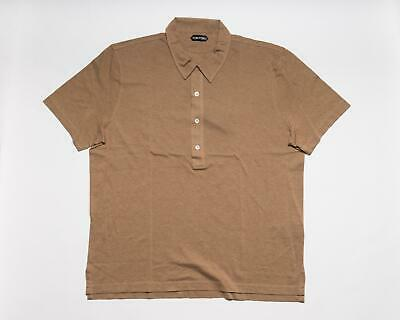 Tom Ford $450 NWT Light Brown Tailored Fit Cotton Polo Tennis Shirt XL US 56 IT
