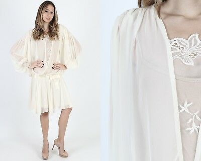 80s Dresses | Casual to Party Dresses Vintage 80s Ivory Chiffon Dress Sheer Floral Lace Deco Wedding Bridal Party Mini $54.00 AT vintagedancer.com