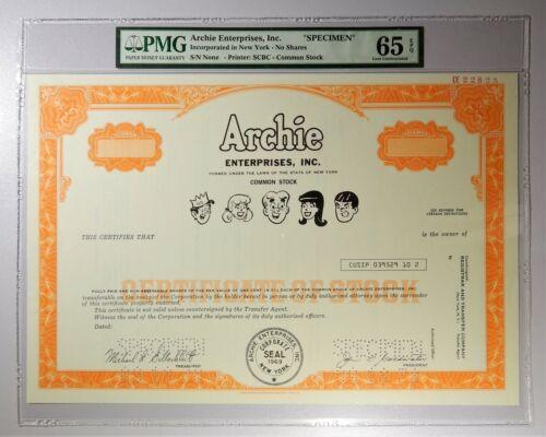 Archie Enterprises Inc. Common Stock Specimen Sheet PMG Gem Uncirculated 65 EPQ