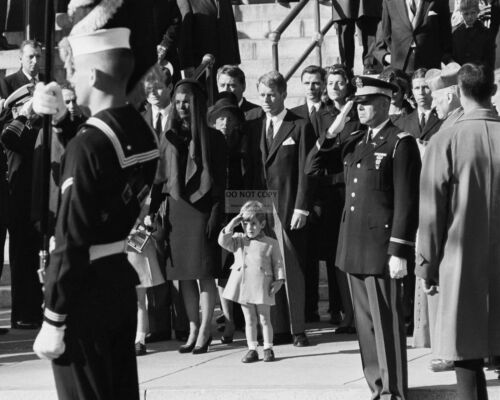 JOHN JR SALUTES THE COFFIN OF HIS FATHER PRES JOHN F KENNEDY 8X10 PHOTO (AA-138)