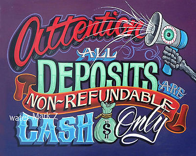 Tattoo Shop Policy Print Cash deposit