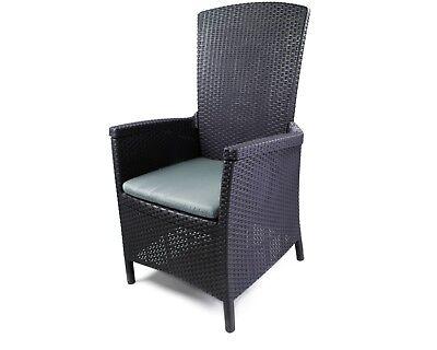 Kunststoff Grau Klappsessel (Ondis24 Liegestuhl Vermont klappbar Rattan Gartensessel mit Sitzkissen grau)