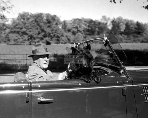 "FRANKLIN D. ROOSEVELT IN CONVERTIBLE w/ FIRST DOG ""FALA"" - 8X10 PHOTO (ZZ-186)"