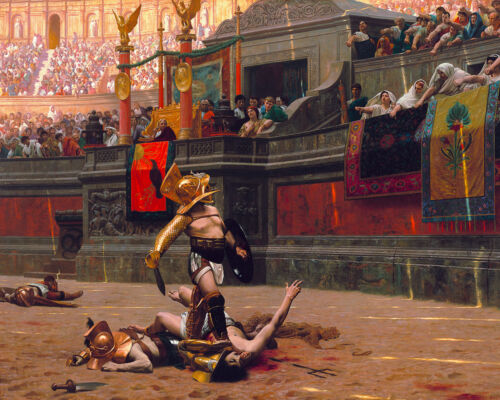 Roman Gladiator Warrior Sparta Colloseum Painting Real Canvas Art Print New