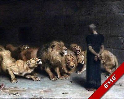 Lions Den Bible (DANIEL IN AMONG THE LIONS DEN OIL PAINTING BIBLE ART GICLEE PRINT ON REAL)