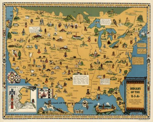 16x20 Indian Tribe Map Poster PHOTO Native Americans United States Tribes 1944