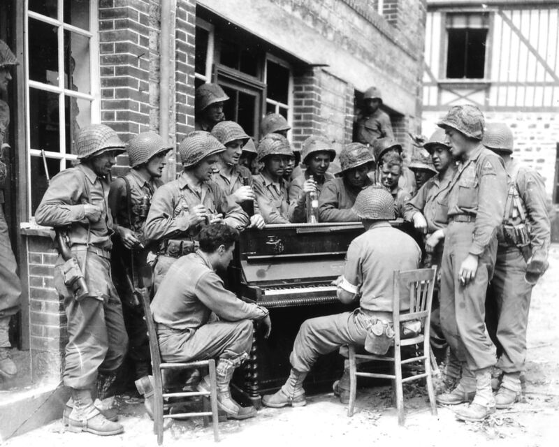 World War 2-2nd Armored Division-Singing in Street in Barenton France-1944 Photo