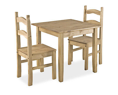 Corona Dining Table Set Small Square Two Chairs Rustic Light Waxed Solid Pine