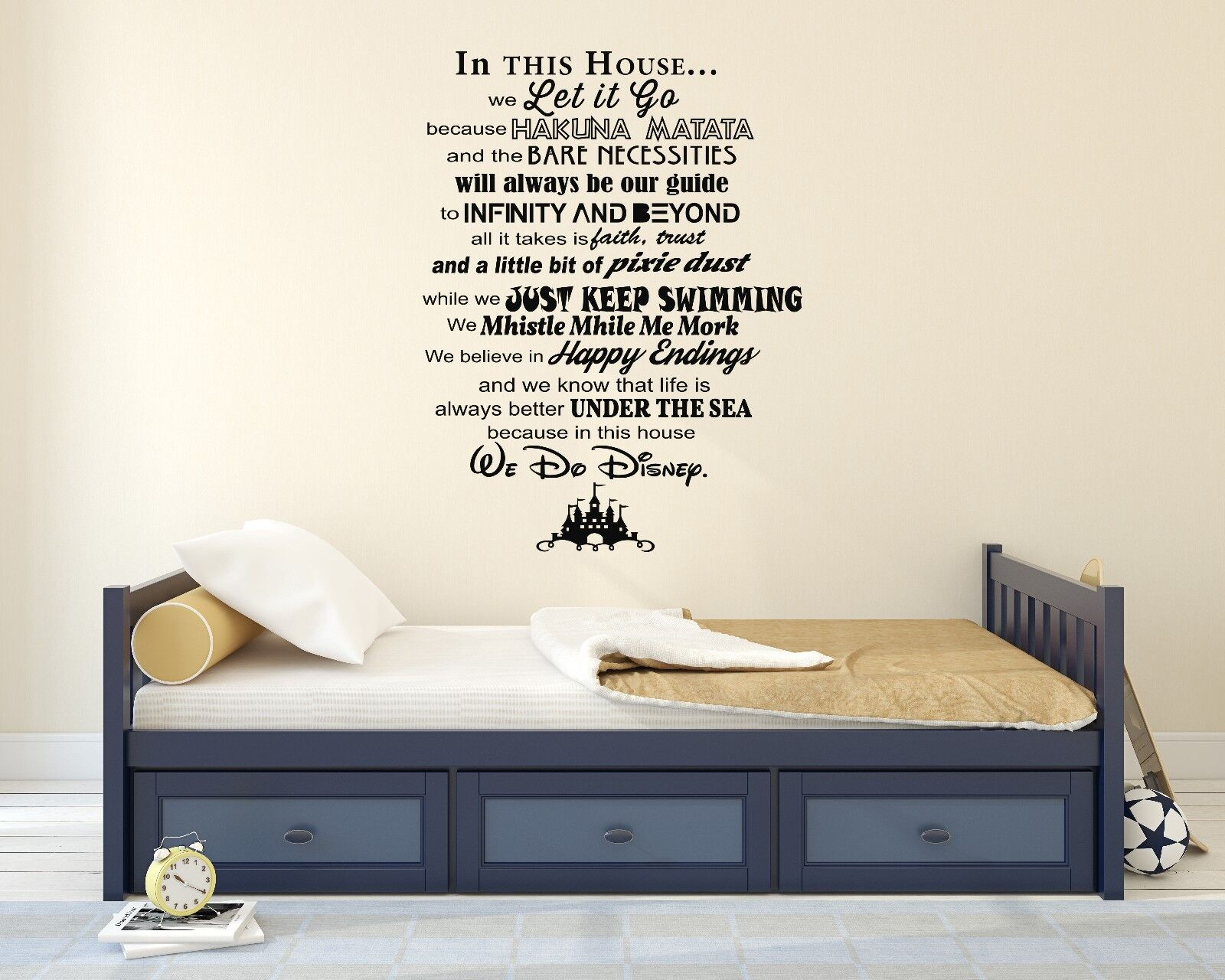 Disney Famous Movies Castle Quote Wall Decal Decor For Car