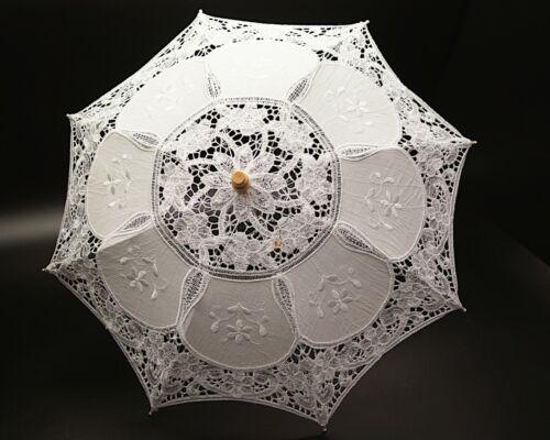 """20""""  Vintage Wedding Lace Linen Parasol Umbrella Bridal Shower Party Decoration"""