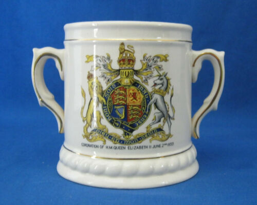 Staffordshire 2 Handled Loving Cup 1952 Coronation Queen Elizabeth II Souvenir
