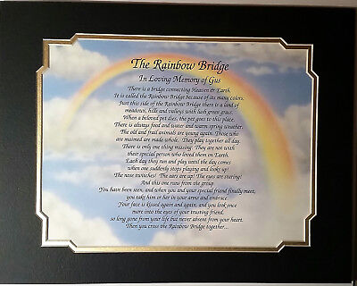 THE RAINBOW BRIDGE Personalilzed Poem Pet Memorial Gift For Loss of Dog OR Cat