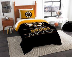 "Boston Bruins ""Draft"" Twin Comforter & Sham Set OFFICIAL NHL"