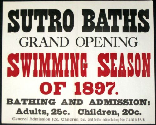 SUTRO BATHS~RARE 1897 SAN FRANCISCO STREETCAR 13x17 STREETCAR ADVERTISING POSTER