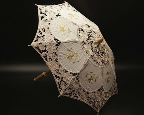 """20""""  Ivory Gold Wedding Lace Linen Parasol Umbrella Bridal Shower Party Décor"""