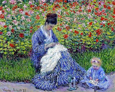 Claude Monet Camille Monet and a Child Impressionism Fine Art Canvas Print New