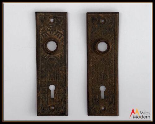 Vintage 1800s Pair 2 Antique Door Plates Cast Copper Plate Victorian Ornate