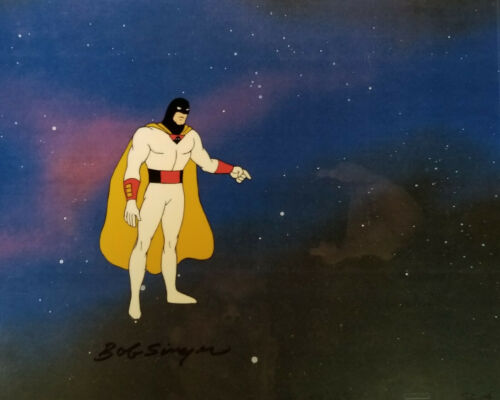 Space Ghost Hand Painted Original Production Cel Signed by Bob Singer
