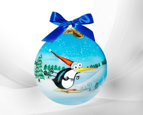 LI BIEN 2021 Authentic Skiing Penguin Hand Painted on inside glass ornament