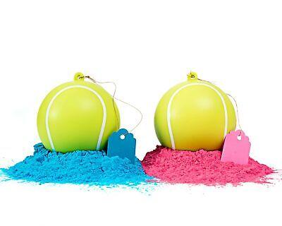 Gender Reveal Tennis Ball 2 Pack | Pink & Blue Set | Powder Ball