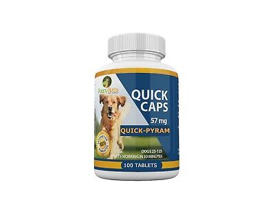 100 Tablets Quick Caps Flea Killer For DOGS 25- 125 Lbs. 57 Mg Works Fast!!