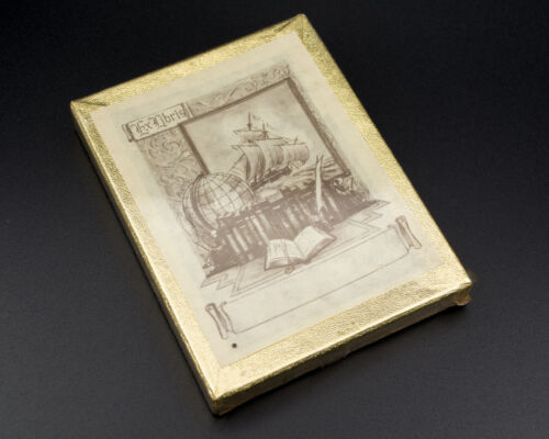 Vintage Antioch Ex Libris Bookplates Unopened Sealed Box - Globe Ship Design