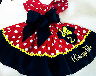 Custom Made Toddler Clothes (Custom Made Minnie Mouse Dress red dot Applique Name Birthday12M 24m 5 2T-12)