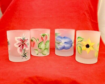 4 Frosted Art Glass Hand Painted Enameled Flowers Tumblers Cocktail Glasses