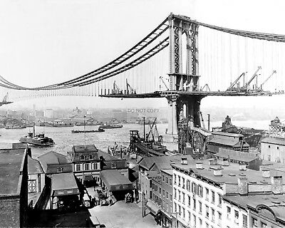 CONSTRUCTION OF THE MANHATTAN BRIDGE CIRCA 1909 - 8X10 PHOTO (AA-360)