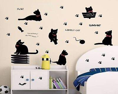 Black Cats Wall Stickers Cartoon Animals Kittens Decals Beedroom Decorations  ()
