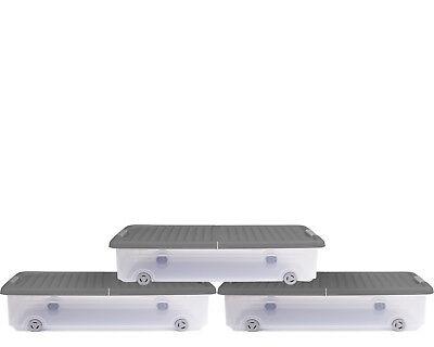 3x Unterbettkommode Allzweckbox Rollerbox Unterbettbox 35L grau/transparent