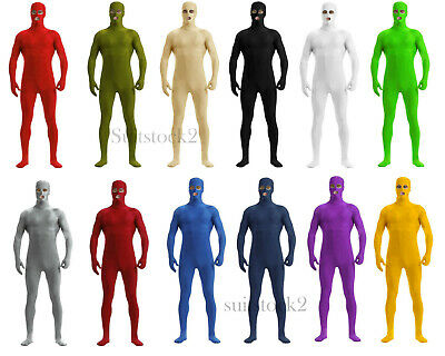 Skin Costume Kids (Kids Adult Open Eyes Mouth Lycra Zentai Skin Costume Bodysuit Catsuit Unitard)