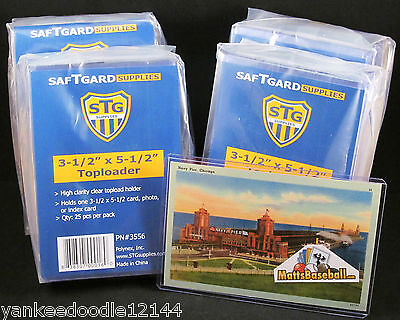 "100 SAFTGARD 3.5 X 5.5"" Rigid Hard ""Small"" Baseball HOF Postcard Topload Holders"
