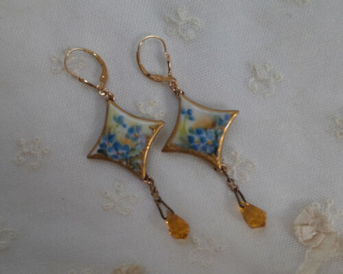 Antique Hand Painted Forget Me Not Porcelain Earrings 14K Gold Filled Lever Back