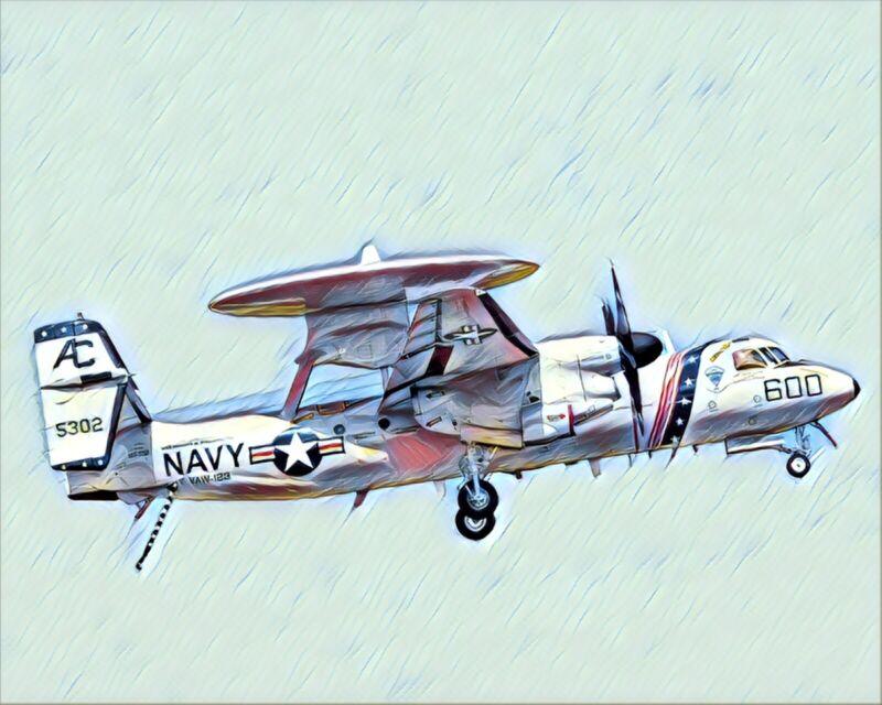 US Navy E-2 Hawkeye Artistic Style Print 8x10
