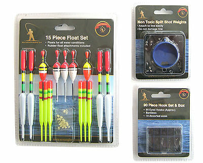 FISHING TACKLE SET INCLUDING 15 FLOATS 90 HOOKS AND NON TOXIC SPLIT SHOT