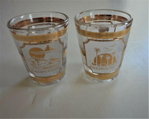 2 Vtg Mint Midcentury Culver Barware 22Kt Gold California Shot Glass Palm Trees