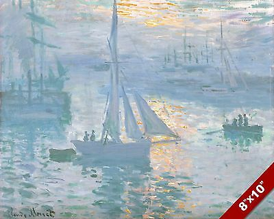 BOATS AT SUNRISE C MONET SCENIC SHIPS SEASCAPE ART PAINTING REAL CANVAS PRINT