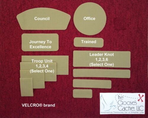Tan Sew-on VELCRO® Brand Fasteners for Patches on Scouts BSA Leader Shirts