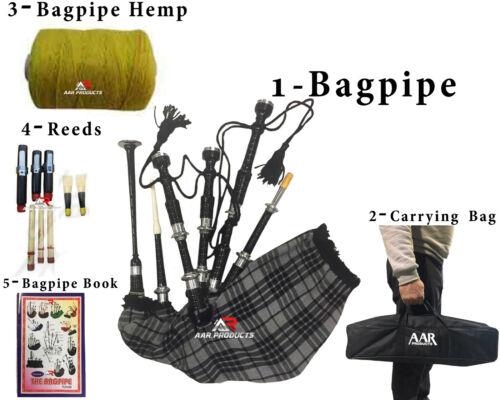 Scottish Bagpipe Sheesham wood Black H Grey Silver Mounts Free Bagpipe Carrying
