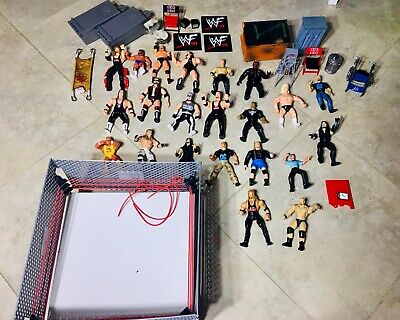 WCW WWE WWF Vintage Lot 23 Action Figure Lot, Ring 80s-90s And Accessories WOW!