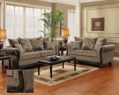 Dream Java Chenille Sofa & Love Seat Living Room Furniture Set Wood Trim Pillows