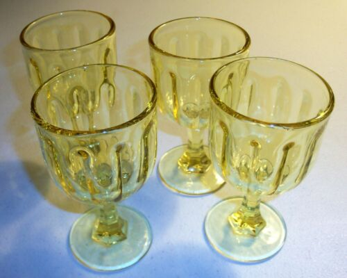 Four Marked Yellow Glass Small Goblets