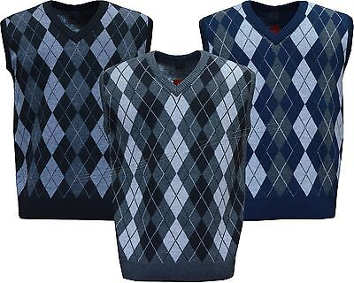 Mens Argyle V Neck Sleeveless Sweater Jumper Tank Top Jersey Golf Casual M - XXL