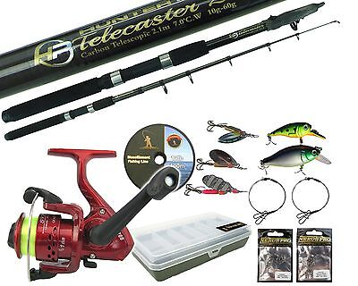 PIKE FISHING KIT SPINNING SET 8ft ROD REEL TACKLE BOX TRACES SPINNERS PLUGS LINE